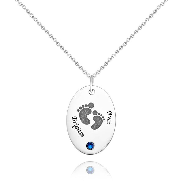 Personalized Footprint Oval Shaped Necklace, Engraved Necklace with Custom Birthstone 14K Gold Plated