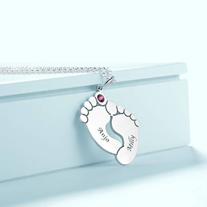 Personalized Baby Foot Oval Shaped Necklace, Engraved Necklace with Custom Birthstone Platinum Plated