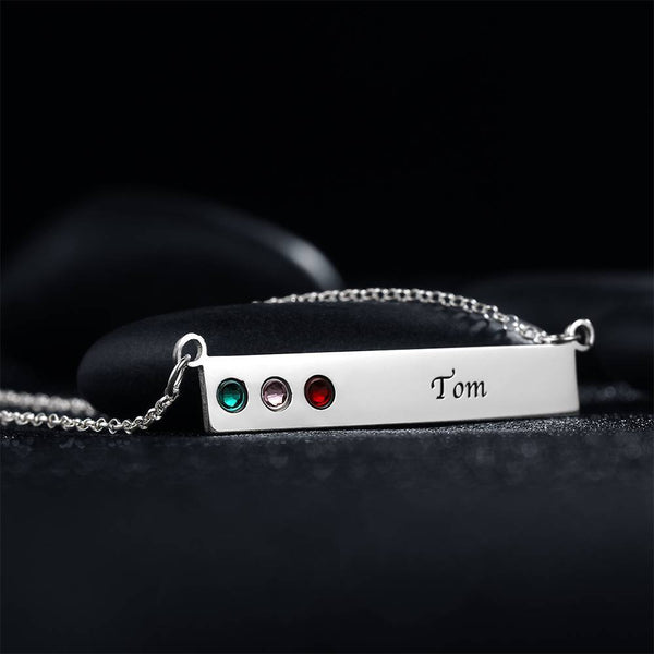 Personalized Birthstone Necklace, Engravable Bar Necklace Platinum Plated