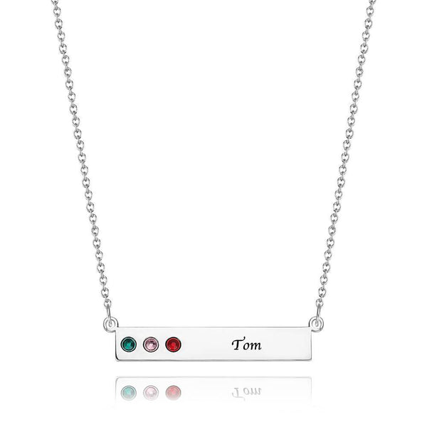 Personalized Birthstone Necklace, Engravable Bar Necklace 14K Gold Plated