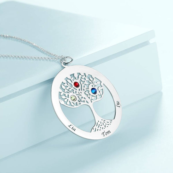 Family Tree Engraved Name Necklace with Custom Birthstone Platinum Plated
