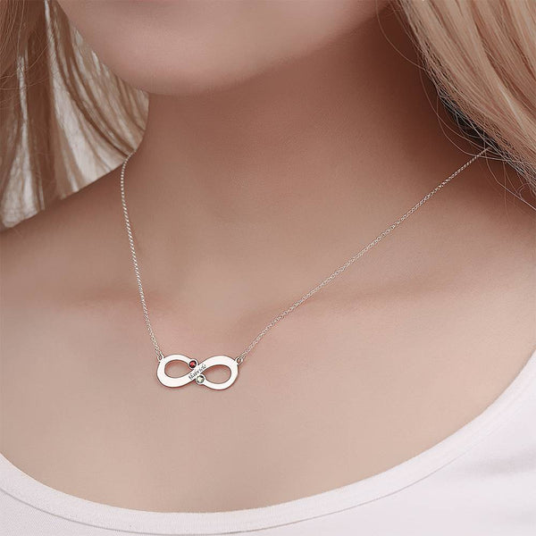 Personalized Name Necklace with Birthstone Infinity Necklace, Engraved Necklace Platinum Plated