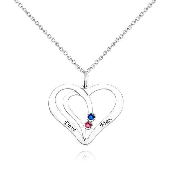 Heart Engraved Name Necklace with Custom Birthstone Necklace Platinum Plated