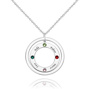 Personalized Two Circles Name Necklace with Custom birthstone Necklace, Engraved Necklace 14K Gold Plated