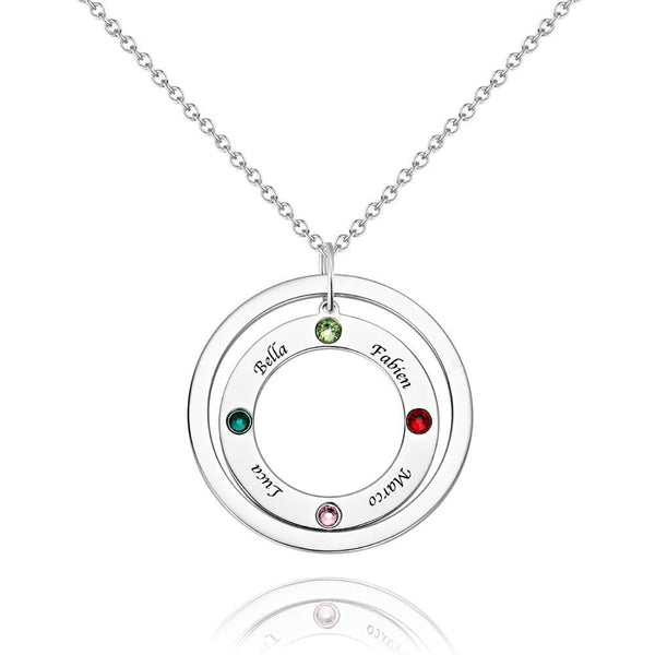 Personalized Two Circles Name Necklace with Custom birthstone Necklace, Engraved Necklace Platinum Plated