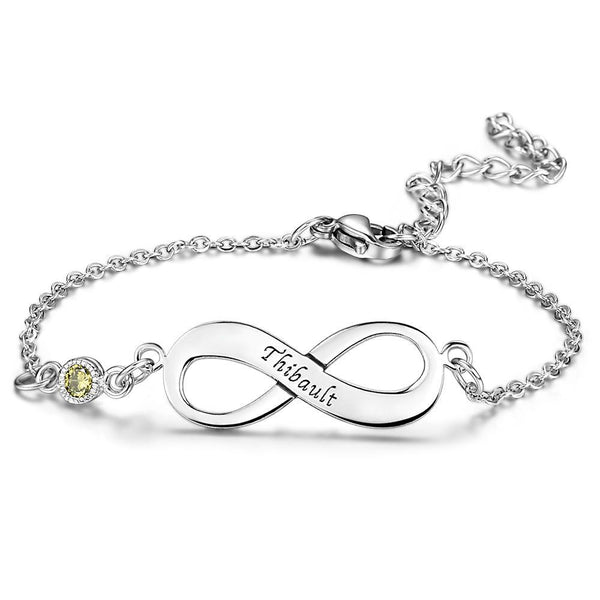 Infinity Bracelet With Birthstone 14K Gold