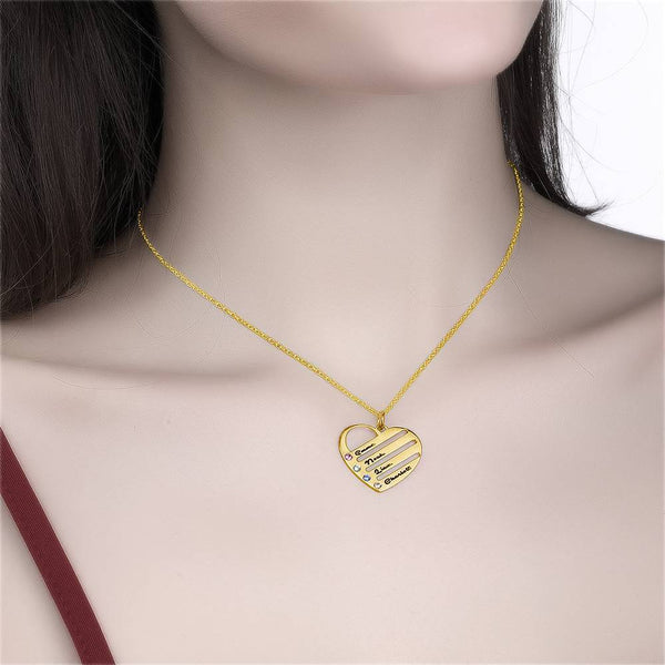 Engraved Heart Birthstone Necklace with Copper in 14K Gold For Mom