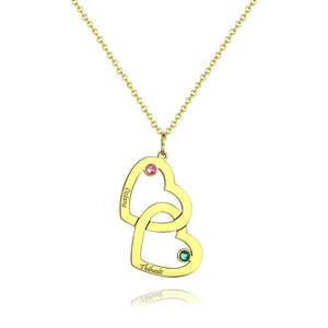 Engraved Necklace Two Heart With Birthstone 14K Gold For Her