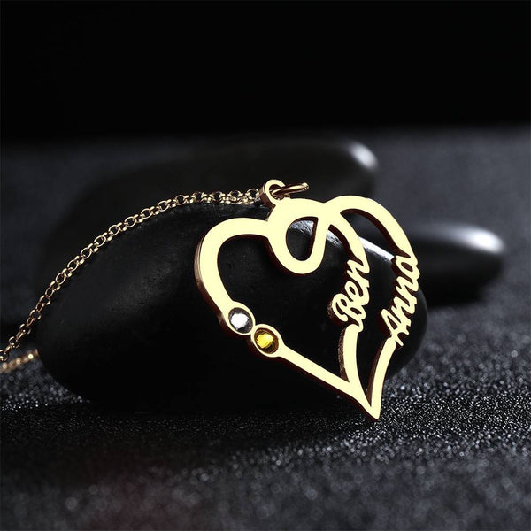 Custom Personality Overlapping Heart Two Name Birthstone Necklace 14K Gold Plated