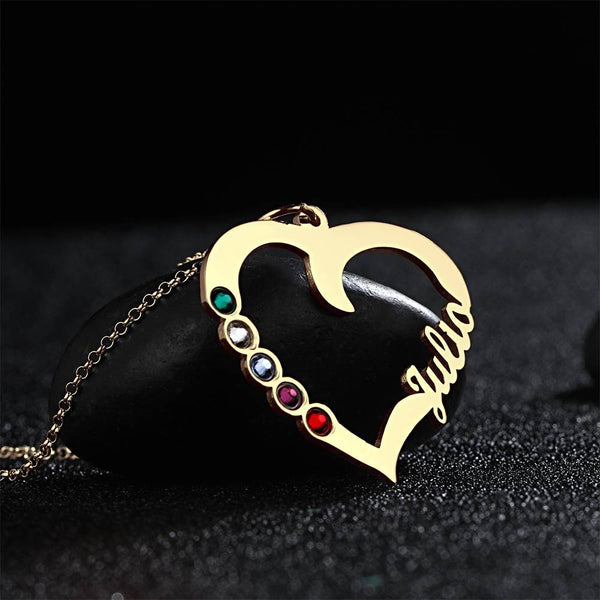 Custom Personality Heart Shape Name Necklace With Birthstone 14K Gold Plated