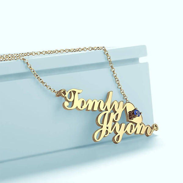 Personalized Two Name Necklace, Birthstone Necklace with Heart 14K Gold Plated