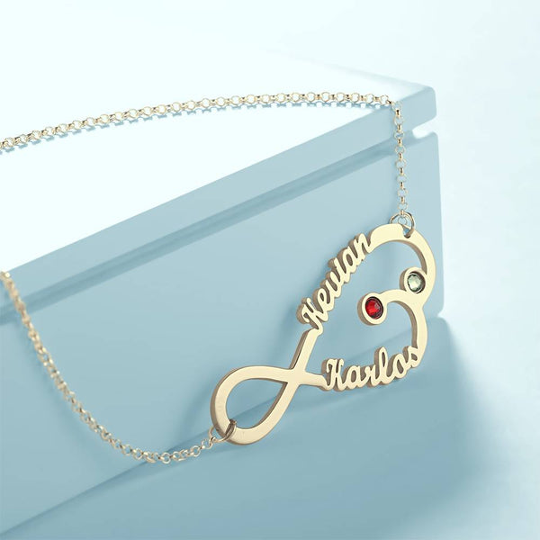 Infinity Name Necklace With Personality Birthstone 14K Gold Plated