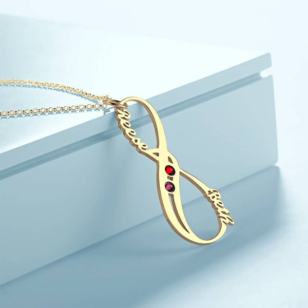 Personalized Vertical Infinity Name Necklace With Birthstones 14K Gold Plated