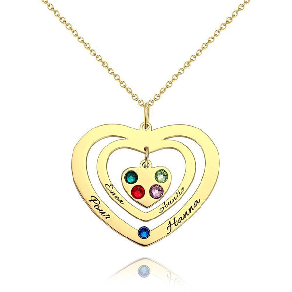 Personalized Heart Two Name Necklace, Engraved Necklace with Custom Birthstone 14K Gold Plated