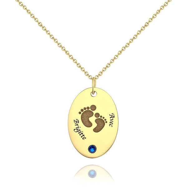Personalized Footprint Oval Shaped Necklace, Engraved Necklace with Custom Birthstone Platinum Plated