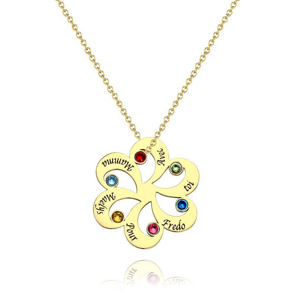 Personalized Family Name Necklace with Custom Birthstone 14K Gold Plated