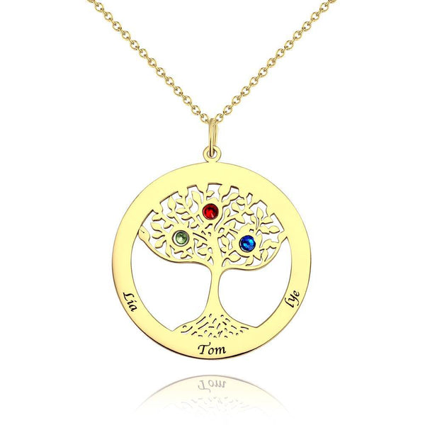 Family Tree Engraved Name Necklace with Custom Birthstone 14K Gold Plated