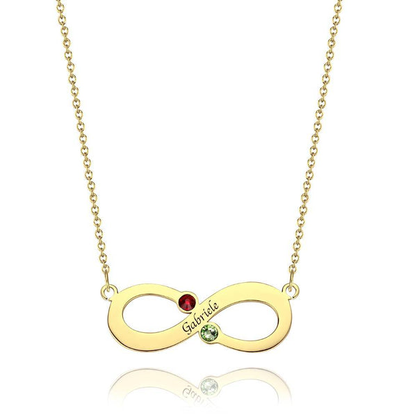 Personalized Name Necklace with Birthstone Infinity Necklace, Engraved Necklace 14K Gold Plated