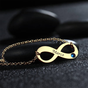 Personalized Infinity Necklace with Birthstone, Engraved Name Necklace 14K Gold Plated