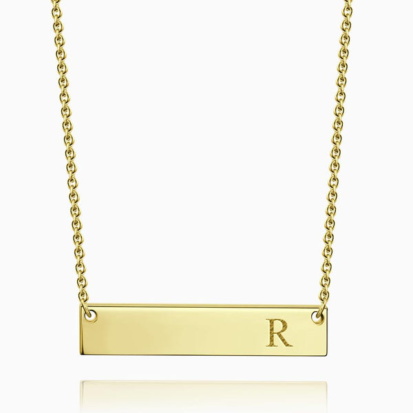 Initial Bar Necklace With Engraving 14k Gold Plated