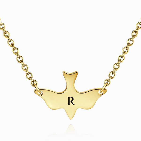 Initial Bird Engraved Necklace 14k Gold Plated