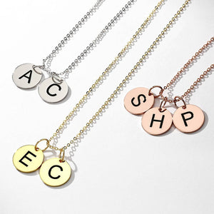 Initial Disc Engraved Necklace 14k Gold Plated