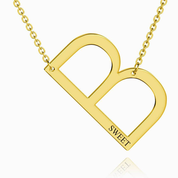 Engraved Alphabet B Initial Necklace 14k Gold Plated