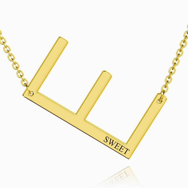 Engraved Alphabet E Initial Necklace 14k Gold Plated