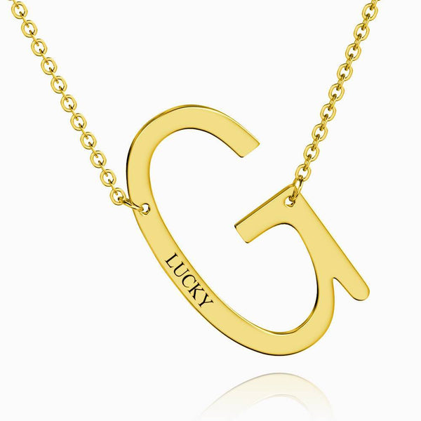 Engraved Alphabet G Initial Necklace 14k Gold Plated