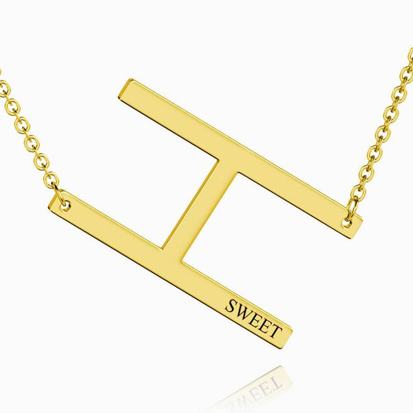 Engraved Alphabet H Initial Necklace 14k Gold Plated
