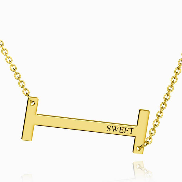 Engraved Alphabet I Initial Necklace 14k Gold Plated