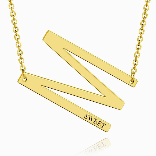 Engraved Alphabet M Initial Necklace 14k Gold Plated