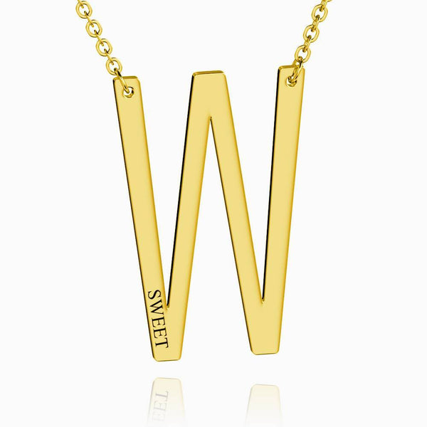 Engraved Alphabet W Initial Necklace 14k Gold Plated