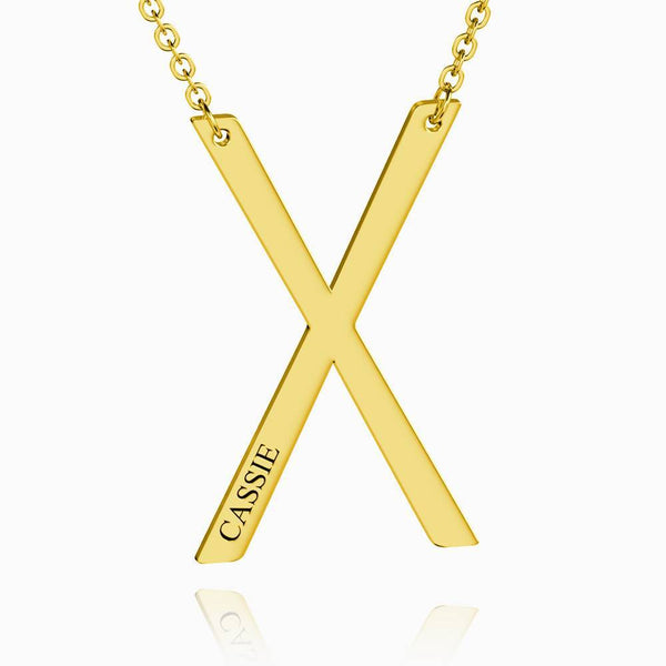 Engraved Alphabet X Initial Necklace 14k Gold Plated