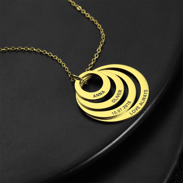 Personalized Four Disc Engraved Name Necklace 14K Gold Plated