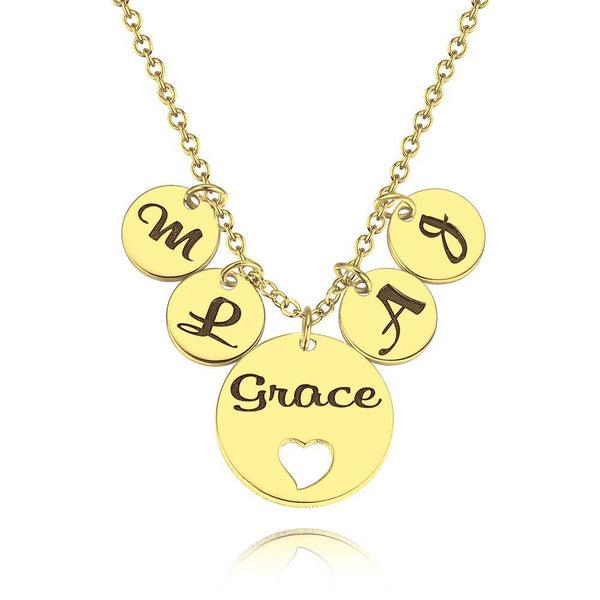 Four Initial Letters with Hollow Heart Engraved Necklace 14K Gold Plated