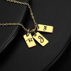 Three Initial Letters Engraved Necklace 14K Gold Plated