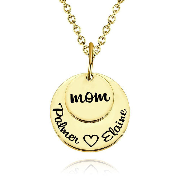 Custom Disc Engraved Necklace 14K Gold
