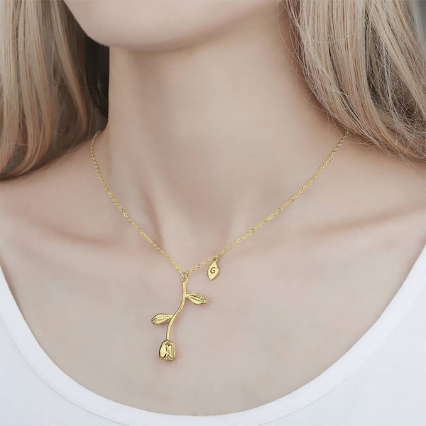 Rose Initial Necklace For Women 14K Gold Plated