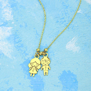 Personalized Initial Necklace with Children Charm Mother Necklace 14k Gold Plated