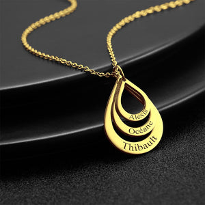 Personalized Engraved Necklace Drop Shaped Family Necklace in Golden For Mom
