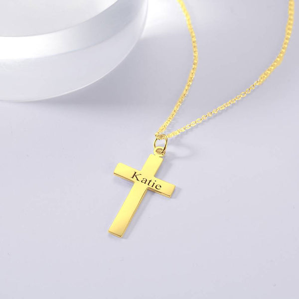 Engraved Necklace Personality Cross Necklace 14K Gold Plated