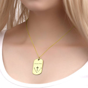 Men's Engraved Dog Tag Name Necklace, Cross Necklace 14K Gold Plated
