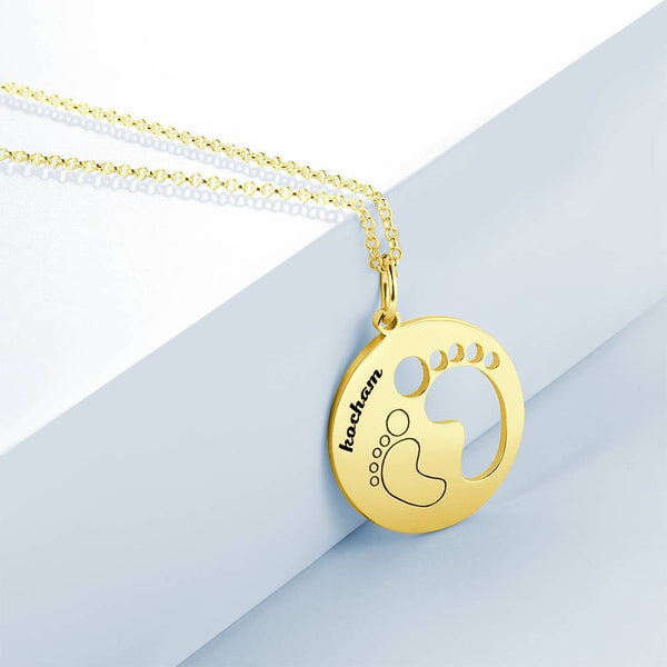 Custom Baby Footprints, Engraved Necklace 14K Gold Plated