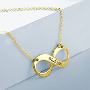 Engraved Necklace, Infinity Love Necklace 14K Gold Plated