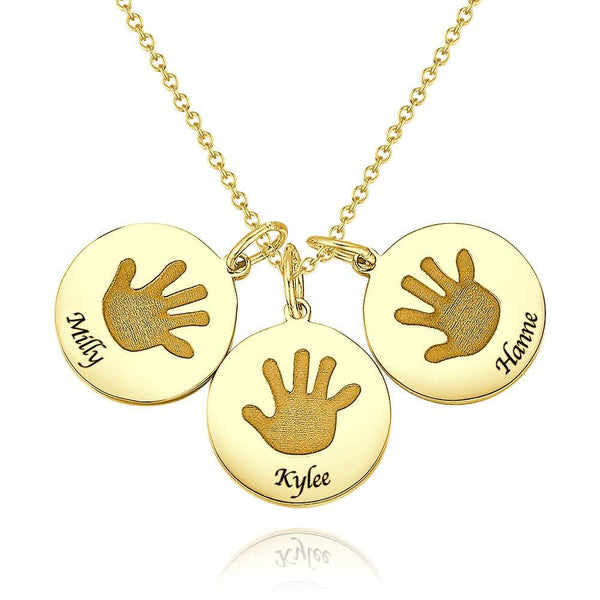 Personality Children Handprint Round Necklace, Engraved Necklace 14K Gold Plated