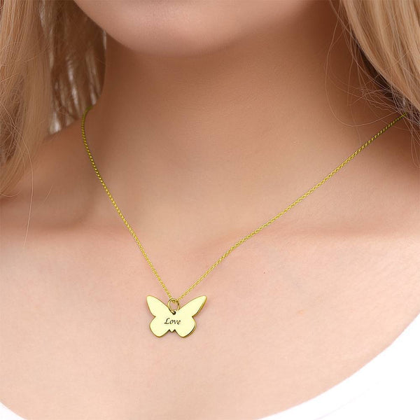 Butterfly Engraved Necklace 14K Gold Plated -  Love Name Necklace