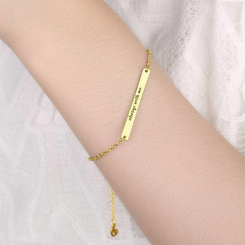 Custom Bar Engraved Bracelet 14K Gold