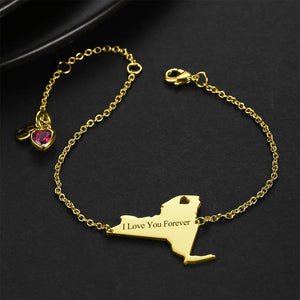 U.S. State Engraved Bracelet with Custom Birthstone 14K Gold Plated