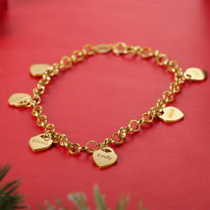 Women's Heart Shape Engraved Tag Bracelet With Engraving Copper in 14K Gold